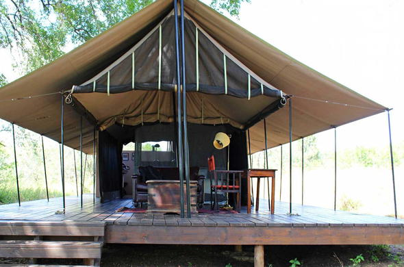 Exterior of the canvas tents offered at Honeyguide Khoka Moya Camp.